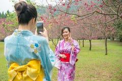 De jonge dames helpen elkaar die foto's neemt stock fotografie
