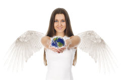 De jonge de holdingsaarde van de engelenvrouw dient binnen witte rug in stock fotografie