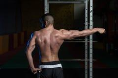 De jonge de Spierenbicepsen van de Bodybuilderverbuiging stellen Stock Fotografie