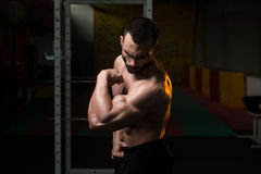 De jonge de Spierenbicepsen van de Bodybuilderverbuiging stellen Stock Foto
