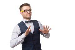 De jonge die mens maakte zich uitdrukking ongerust op wit wordt geïsoleerd Stock Afbeelding