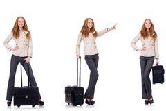 De jonge die onderneemster met koffer op wit wordt geïsoleerd Stock Foto's