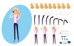 De jonge die verwezenlijking van het Zakenmankarakter voor animatie wordt geplaatst Reeks van bedrijfsvrouw die smartphone gebrui vector illustratie