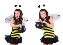 De jonge die vrouw in bijenkostuum op wit wordt ge?soleerd royalty-vrije stock foto