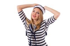 De jonge die vrouwenzeeman op wit wordt geïsoleerd Stock Foto