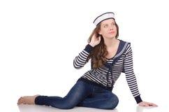 De jonge die vrouwenzeeman op wit wordt geïsoleerd Stock Foto's
