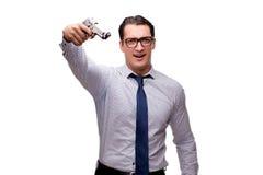 De jonge die zakenman met kanon op wit wordt geïsoleerd Royalty-vrije Stock Foto's