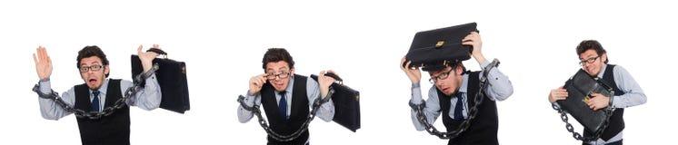 De jonge die zakenman met manchetten op wit wordt geïsoleerd royalty-vrije stock afbeeldingen