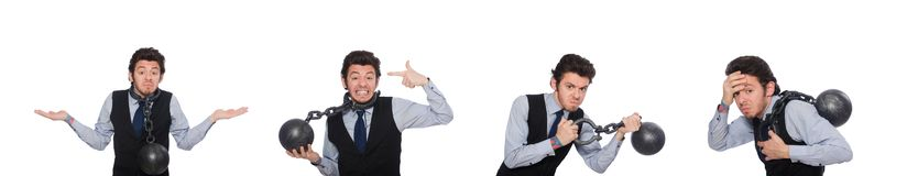 De jonge die zakenman met manchetten op wit wordt geïsoleerd stock afbeelding