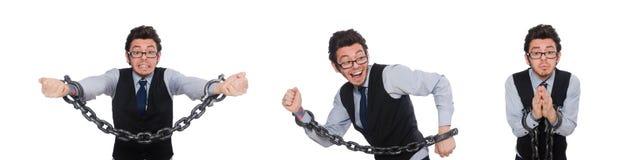 De jonge die zakenman met manchetten op wit wordt geïsoleerd stock foto's
