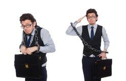 De jonge die zakenman met manchetten op wit wordt ge?soleerd stock fotografie