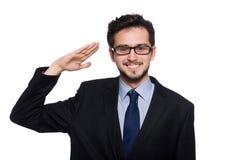 De jonge die zakenman op wit wordt geïsoleerd Stock Foto