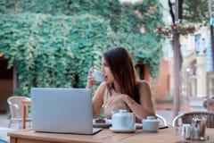 De jonge donkerbruine vrouw drinkt thee Stock Foto's