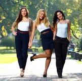 De jonge en mooie meisjes hebben pret in park Stock Afbeelding