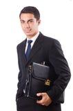 De jonge geïsoleerde koffer van de zakenmanholding Royalty-vrije Stock Afbeeldingen