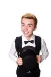De jonge geïsoleerde man in zwart klassiek vest royalty-vrije stock afbeelding