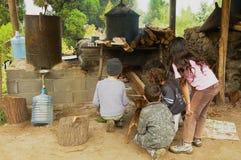 De jonge geitjes branden traditionele openluchtoven om geraniumolie in Les Palmistes, Bijeenkomsteiland, Frankrijk te produceren Royalty-vrije Stock Afbeelding