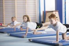 De jonge geitjes die in evenwicht brengende yoga uitoefenen stellen stock afbeelding