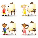 De Jonge geitjes die van de kunst Schildersezels schilderen royalty-vrije illustratie
