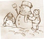De jonge geitjes die van de schets sneeuwman bouwen Stock Afbeelding