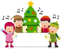 De Jonge geitjes en de Banner van Kerstmis Stock Foto