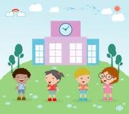 De jonge geitjes gaan naar school, gaat het kind naar school, terug naar school, Leuke beeldverhaalkinderen, gelukkige kinderen,  Stock Foto