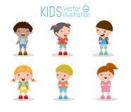 De jonge geitjes gaan naar school, terug naar school, Leuke beeldverhaalkinderen, gelukkige kinderen Royalty-vrije Stock Afbeeldingen