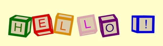 De jonge geitjes kleuren kubussen met brieven hello Vector vector illustratie