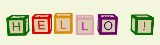 De jonge geitjes kleuren kubussen met brieven hello Vector stock illustratie