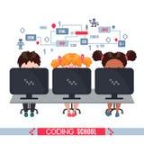 De jonge geitjes leren codage op laptops in school vector illustratie