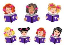 De jonge geitjes lezen Heilige bijbelillustratie Stock Afbeelding