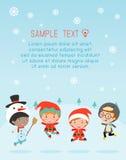 De jonge geitjes met Kerstmiskostuums, jonge geitjes in de karakters van het Kerstmiskostuum vieren, Leuke weinig Kerstmiskindere Royalty-vrije Illustratie