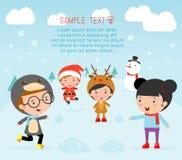 De jonge geitjes met Kerstmiskostuums, jonge geitjes in de karakters van het Kerstmiskostuum vieren, Leuke weinig Kerstmiskindere Stock Illustratie