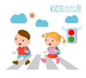 De jonge geitjes over de weg, Kinderen gaan naar school, Vectorillustratie Royalty-vrije Illustratie