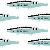 De jonge geitjes overhandigen getrokken naadloos patroon met krokodillen stock illustratie