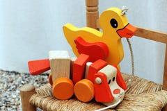 De jonge geitjes trekken speelgoed houten puppy en eend stock afbeeldingen