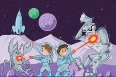 De jonge geitjes van de astronaut Stock Foto