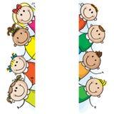 De jonge geitjes van de banner Stock Fotografie