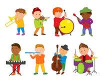 De jonge geitjes van de beeldverhaalmusicus Vectorillustratie voor kinderenmuziek Royalty-vrije Stock Fotografie