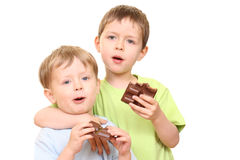 De jonge geitjes van de chocolade Stock Afbeelding