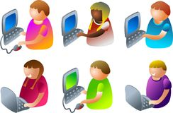 De jonge geitjes van de computer stock illustratie