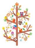De jonge geitjes van de de herfstboom ontwerpen vlakke vectorillustratie Stock Afbeelding