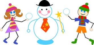 De jonge geitjes van de sneeuwman royalty-vrije illustratie