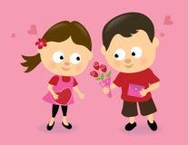 De jonge geitjes van de valentijnskaart Stock Foto's