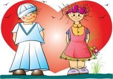 De jonge geitjes van de valentijnskaart Royalty-vrije Stock Afbeelding
