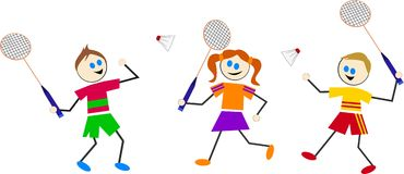 De jonge geitjes van het badminton Stock Afbeelding