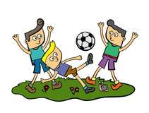 De jonge geitjes van het voetbal Royalty-vrije Stock Afbeeldingen