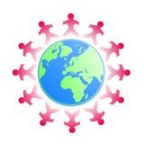 De jonge geitjes van Papercut rond de wereld Stock Foto's