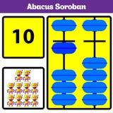 De jonge geitjes van telraamsoroban leren aantallen met telraam, wiskundeaantekenvel voor kinderen Vectorillustratie royalty-vrije illustratie