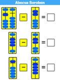 De jonge geitjes van telraamsoroban leren aantallen met telraam, wiskundeaantekenvel voor kinderen Vectorillustratie vector illustratie